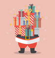 Santa Claus holding a pile of gift boxes vector image vector image