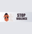 scared terrified woman crying and praying stop vector image vector image