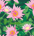 Seamless pattern with pink lotus flowers and green vector image vector image