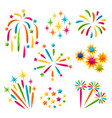 set bright colorful fireworks and salute vector image