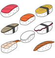 set of sushi rice with raw fish vector image