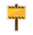 sign road rectangle caution yellow empty cut line vector image vector image