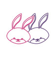 silhouette cute rabbit head animal couple together vector image vector image