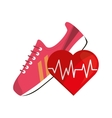 sneaker and heart cardiogram icon vector image