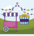 tent sale ticket with carnival kiosk and garlands vector image vector image