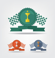 Trophy cup medals and flag vector image vector image
