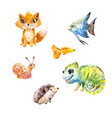 watercolor set of little cute exotic pets vector image vector image