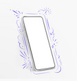 white realistic smartphone mockup with hand drawn vector image