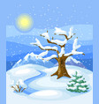 winter landscape with trees mountains and hills vector image vector image