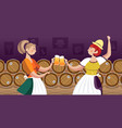 women in traditional clothes drinking beer vector image vector image