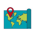 world map with pin location symbol vector image
