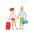 young couple with travel bags people traveling vector image vector image