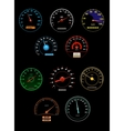 Speedometers set with dials and gauges with needle vector image
