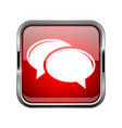 chat icon square red 3d icon with chrome frame vector image