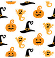 halloween seamless pattern with ghosts witch hats vector image