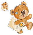 a brown teddy bear carries vector image vector image