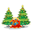 A monster near the pine trees swallowing a gift vector image vector image