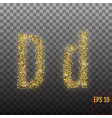alphabet gold letter d on transparent background vector image