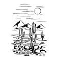 america with cacti and mountains vector image vector image