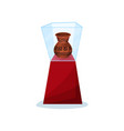 ancient vase on red stand under glass box old vector image vector image