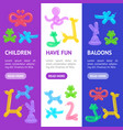animal balloon banner vecrtical set vector image