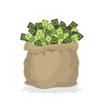 Bag money Large burlap sack with cash Dollars in vector image