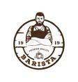 barista coffee latte art cafe logo design template vector image
