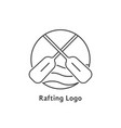 black thin line rafting logo vector image