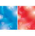 blue and red flyers with contours hearts vector image vector image