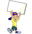 boy with blank banner vector image vector image