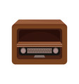brown retro radio on a white vector image vector image