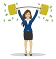 businesswoman lifts up barbell with dollar sign vector image