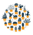 collection hand-drawn cacti and succulents in vector image