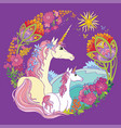 colorful magic unicorn isolated on mauve vector image vector image