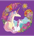 colorful magic unicorn isolated on mauve vector image