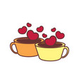 couple loving cup of coffee graphic vector image vector image
