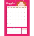 Cute calendar diary template for 2016 with animals vector image