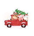 cute farm animals riding truck in winter vector image