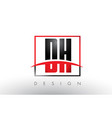 dh d h logo letters with red and black colors and vector image