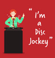 disc jockey character on red background vector image vector image
