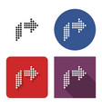 dotted icon right orthogonally curved arrow in vector image vector image