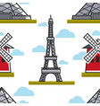 eiffel tower and moulin rouge seamless pattern vector image vector image