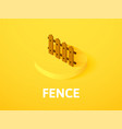 fence isometric icon isolated on color background vector image vector image
