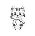 figure cute cat wild animal with face expression vector image vector image