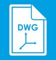 file dwg icon white vector image vector image