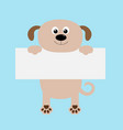 funny dog hanging on paper board templatebig eyes vector image