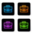 glowing neon briefcase icon isolated on white vector image vector image