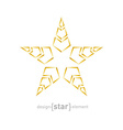 golden star with arrows on white background vector image vector image