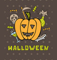 halloween greeting card with pumpkin vector image