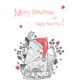 hand drawn funny xmas fox in scandinavian style vector image